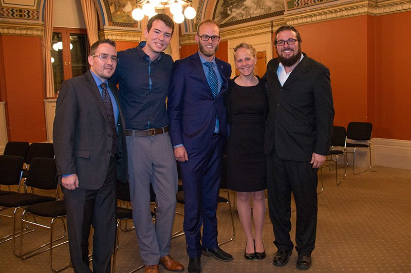 Pictured L-R: Joel Oosterman (MP Viersen's office), David Paisley (Over 18 Executive Producer), MP Arnold Viersen, Michelle & Jay Brock, founders of Hope for the Sold