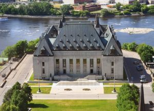 Aerial view of Supreme Court of Canada and Gatineau Skyline, Ottawa, Canada