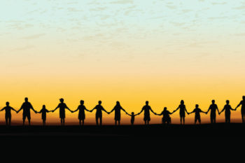 Holding Hands - United Community Sunset Background