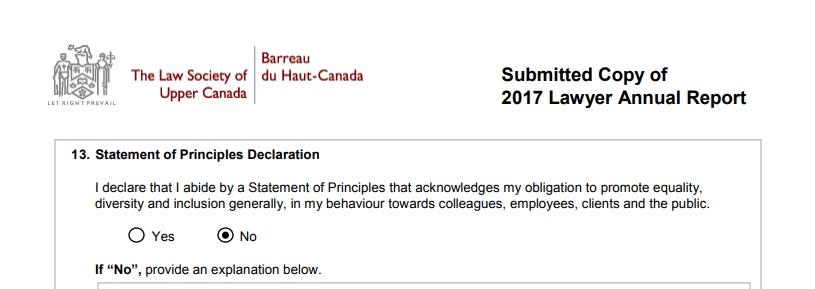 LSUC statement of principles declaration